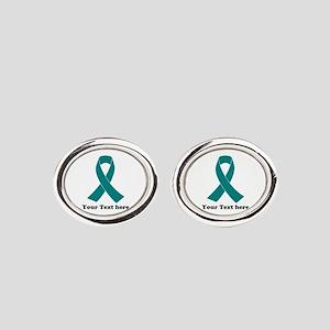 Teal Ribbon Awareness Oval Cufflinks