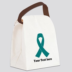 Teal Ribbon Awareness Canvas Lunch Bag