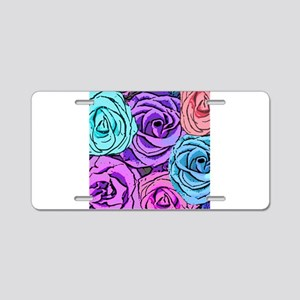 Abstract Colorful Roses Aluminum License Plate