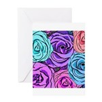 Abstract Colorful Roses Greeting Card