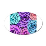 Abstract Colorful Roses 20x12 Oval Wall Decal