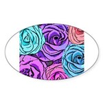 Abstract Colorful Roses Sticker (Oval 10 pk)