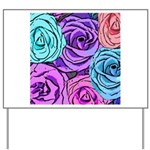 Abstract Colorful Roses Yard Sign