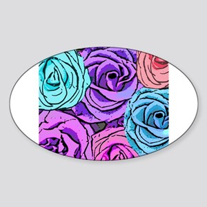 Abstract Colorful Roses Sticker (Oval)