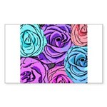 Abstract Colorful Roses Sticker (Rectangle)