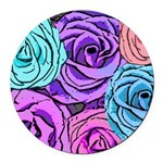Abstract Colorful Roses Round Car Magnet
