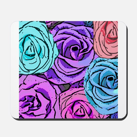 Abstract Colorful Roses Mousepad