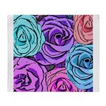 Abstract Colorful Roses Throw Blanket
