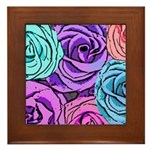 Abstract Colorful Roses Framed Tile
