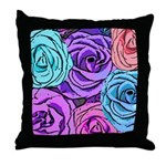 Abstract Colorful Roses Throw Pillow