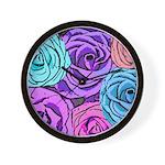 Abstract Colorful Roses Wall Clock