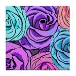 Abstract Colorful Roses Tile Coaster