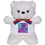 Abstract Colorful Roses Teddy Bear