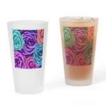 Abstract Colorful Roses Drinking Glass