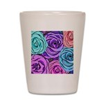 Abstract Colorful Roses Shot Glass