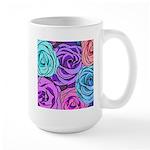 Abstract Colorful Roses Large Mug