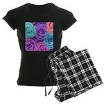 Abstract Colorful Roses Women's Dark Pajamas
