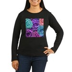 Abstract Colorful Roses Women's Long Sleeve Dark T