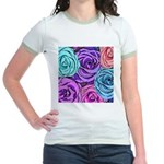 Abstract Colorful Roses Jr. Ringer T-Shirt