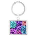 Abstract Colorful Roses Landscape Keychain