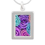 Abstract Colorful Roses Silver Portrait Necklace