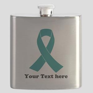 Teal Ribbon Awareness Flask