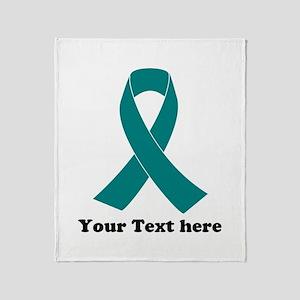 Teal Ribbon Awareness Throw Blanket
