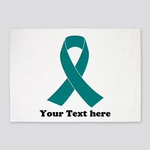 Teal Ribbon Awareness 5'x7'Area Rug