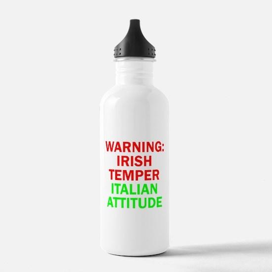 WARNINGIRISHTEMPER ITALIAN ATTITUDE.psd Water Bottle