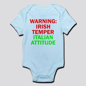 WARNINGIRISHTEMPER ITALIAN ATTITUDE Infant Bod