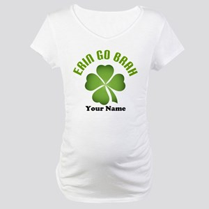 Personalized Erin Go Brah Clover Maternity T-Shirt
