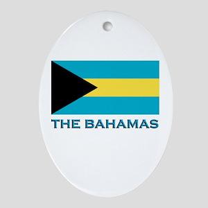 The Bahamas Flag Gear Oval Ornament