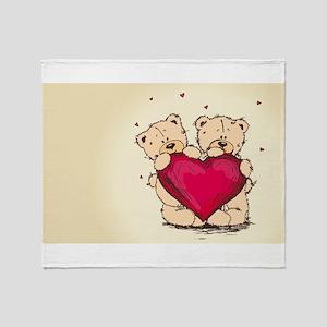 teddybear love Throw Blanket