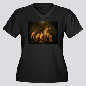 72 Women's Plus Size V-Neck Dark T-Shirt