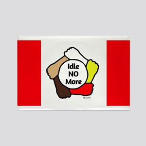Idle No More - Five Hands - Canadian Flag Rectangl