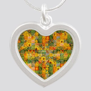 Spring Flower Patchwork Quilt Silver Heart Necklac