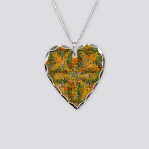 Spring Flower Patchwork Quilt Necklace Heart Charm