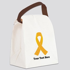 Gold Ribbon Awareness Canvas Lunch Bag