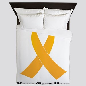 Gold Ribbon Awareness Queen Duvet