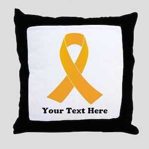 Gold Ribbon Awareness Throw Pillow