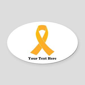 Gold Ribbon Awareness Oval Car Magnet
