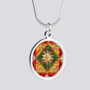 Heart Patchwork Love Quilt Silver Round Necklace