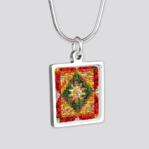Heart Patchwork Love Quilt Silver Square Necklace