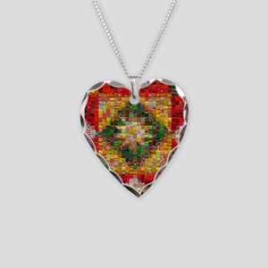 Heart Patchwork Love Quilt Necklace Heart Charm