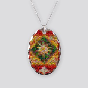 Heart Patchwork Love Quilt Necklace Oval Charm