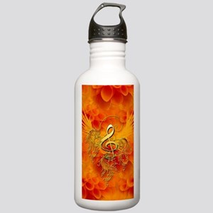 Clef with flowers on the background Water Bottle
