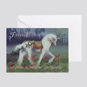 Friend Birthday Card with Unicorn, Fantasy Birthda
