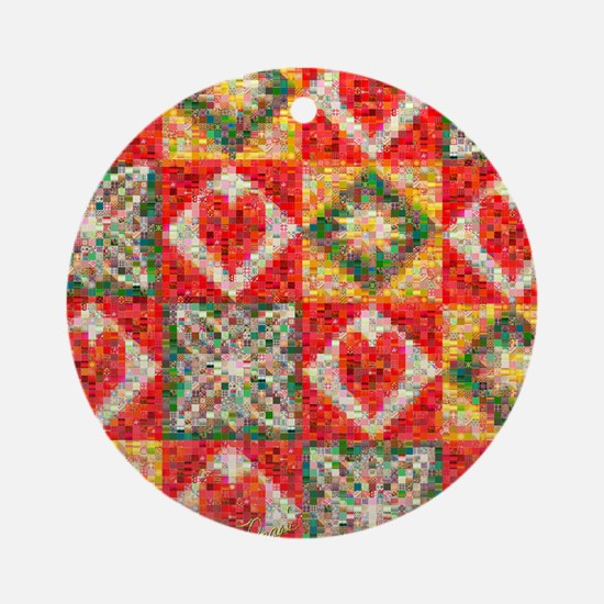 Heart Patchwork Love Quilt Ornament (Round)