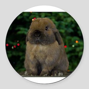 Christmas Bunny Round Car Magnet