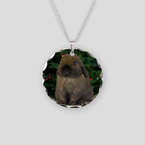 Christmas Bunny Necklace Circle Charm
